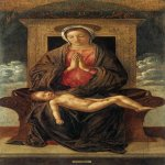 Giovanni Bellini (c. 1430  1516)  Madonna Enthroned Adoring the Sleeping Child  1475  Tempera on wood, 120 x 65 cm  Gallerie dell'Accademia, Venice, Italy